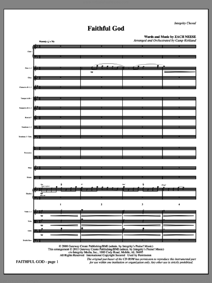 Faithful God (complete set of parts) sheet music for orchestra/band (Orchestra) by Zach Neese and Camp Kirkland, intermediate. Score Image Preview.