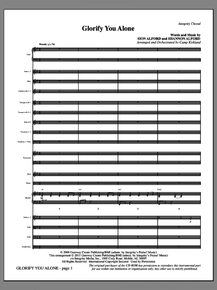 Glorify You Alone (complete set of parts) sheet music for orchestra/band (Orchestra) by Camp Kirkland, Shannon Alford and Sion Alford, intermediate skill level