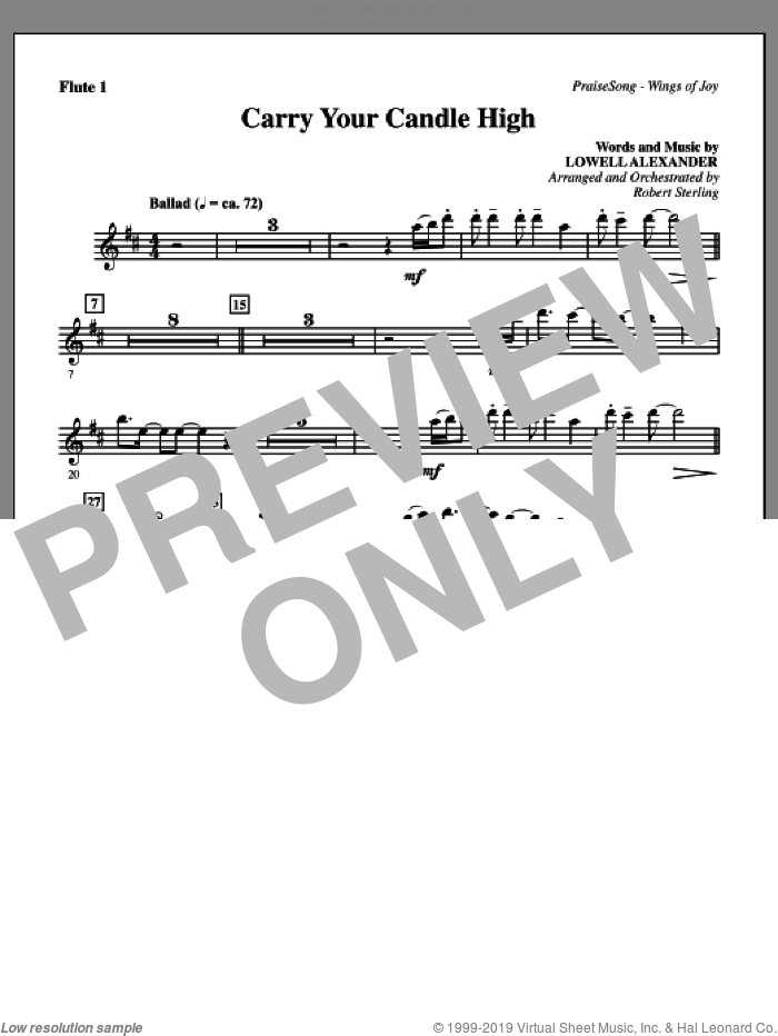 Carry Your Candle High sheet music for orchestra/band (flute 1) by Lowell Alexander