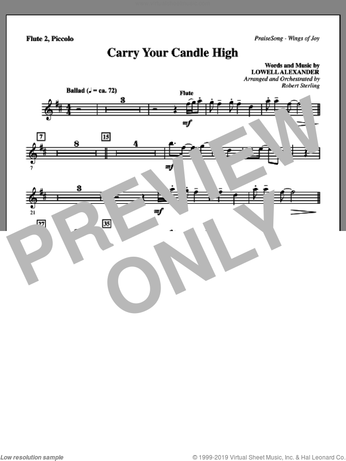 Carry Your Candle High sheet music for orchestra/band (flute 2, piccolo) by Lowell Alexander