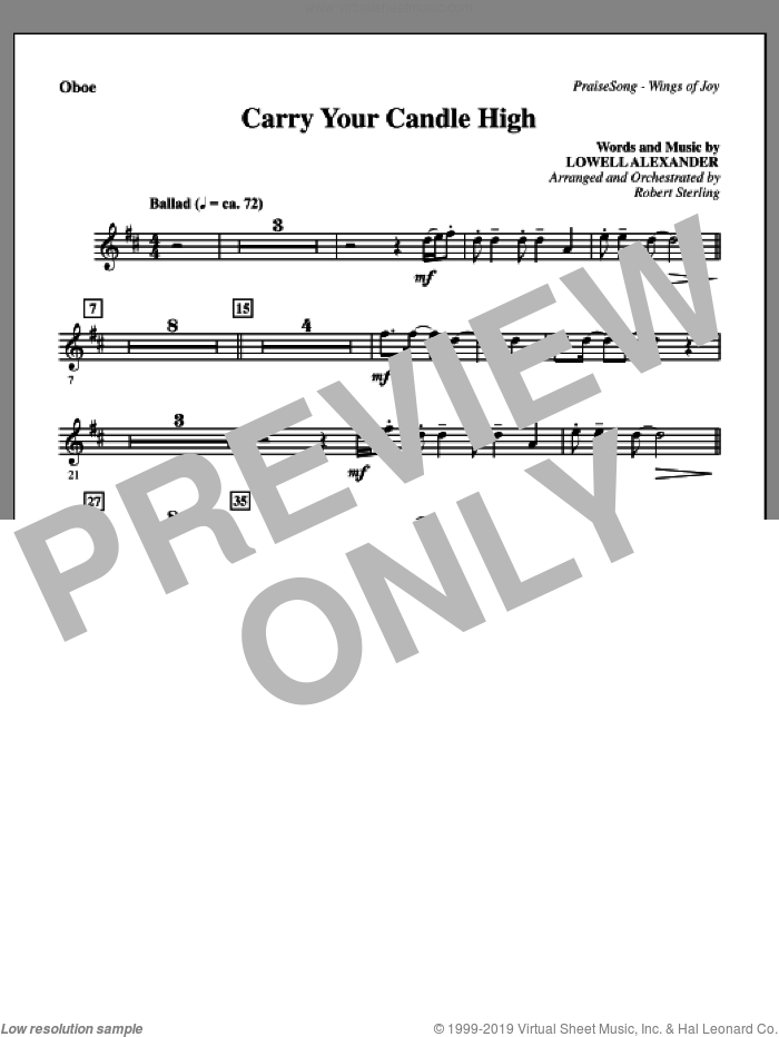 Carry Your Candle High sheet music for orchestra/band (oboe) by Lowell Alexander