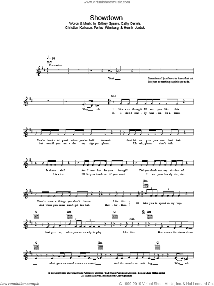 Showdown sheet music for voice and other instruments (fake book) by Britney Spears and Cathy Dennis, intermediate. Score Image Preview.