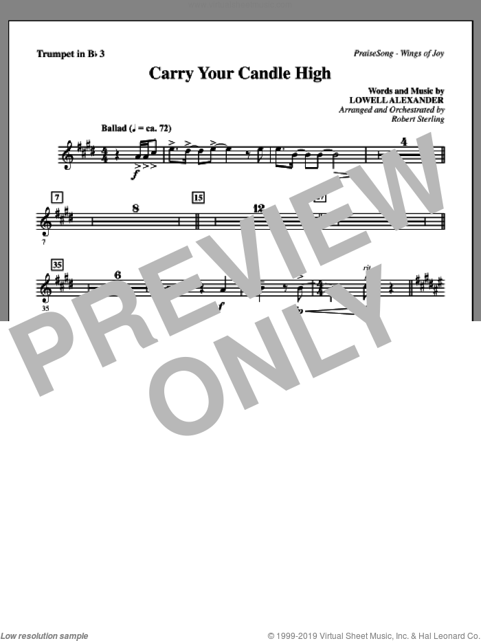 Carry Your Candle High sheet music for orchestra/band (Bb trumpet 3) by Lowell Alexander