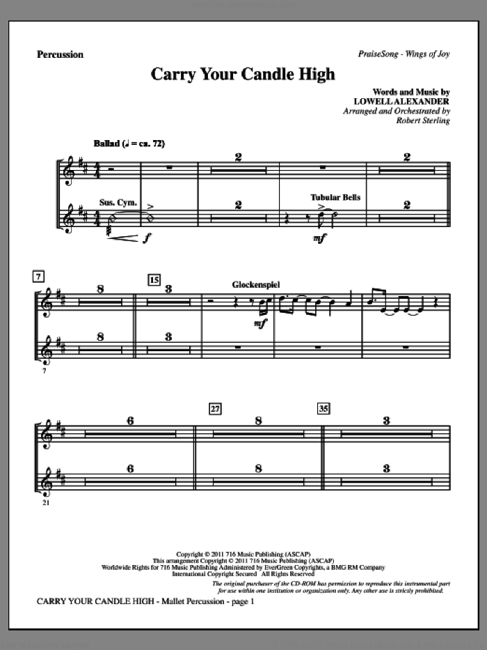 Carry Your Candle High sheet music for orchestra/band (percussion) by Lowell Alexander