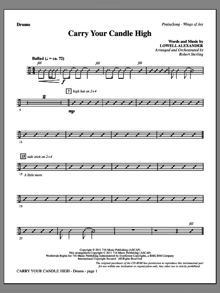Carry Your Candle High sheet music for orchestra/band (drums) by Lowell Alexander