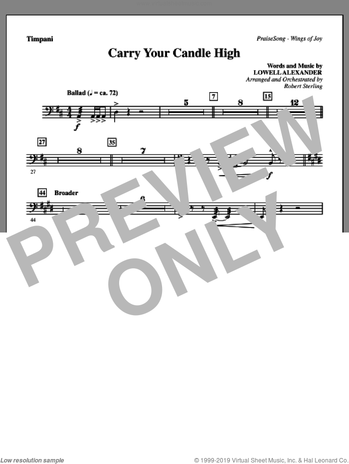 Carry Your Candle High sheet music for orchestra/band (timpani) by Lowell Alexander