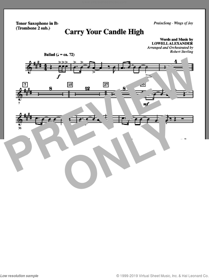 Carry Your Candle High sheet music for orchestra/band (tenor sax, sub. tbn 2) by Lowell Alexander