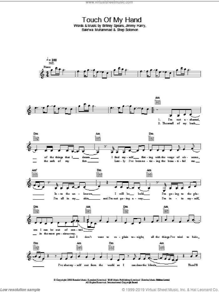 Touch Of My Hand sheet music for voice and other instruments (fake book) by Britney Spears and Jimmy Harry, intermediate skill level