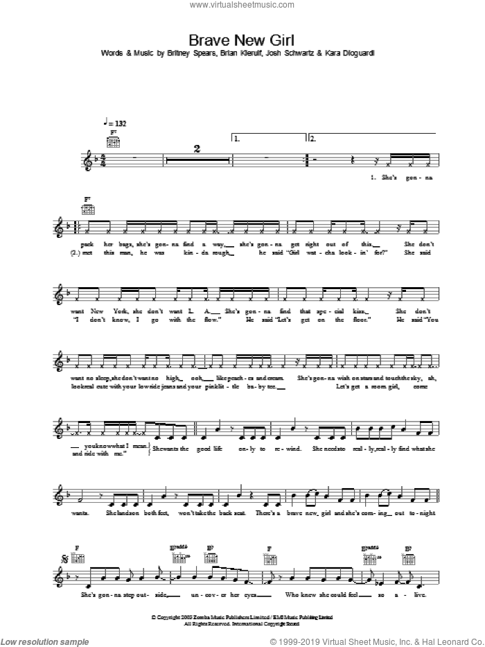 Brave New Girl sheet music for voice and other instruments (fake book) by Britney Spears, Brian Kierulf and Joshua Schwartz, intermediate skill level