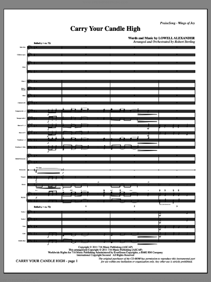 Carry Your Candle High (complete set of parts) sheet music for orchestra/band (Orchestra) by Lowell Alexander and Robert Sterling, intermediate. Score Image Preview.