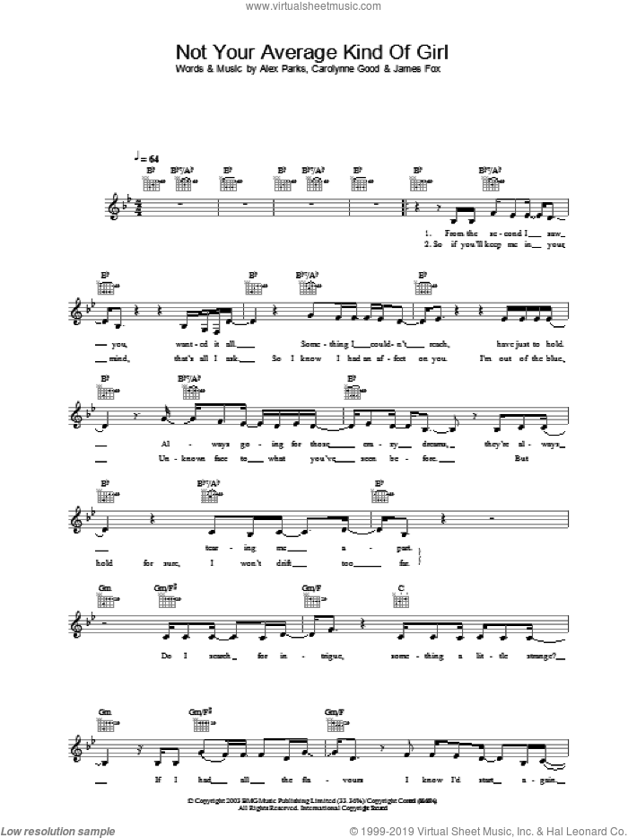 Not Your Average Kind Of Girl sheet music for voice, piano or guitar by Alex Parks. Score Image Preview.