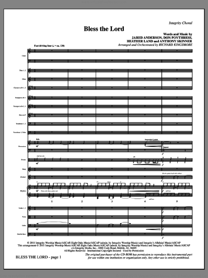 Bless The Lord (complete set of parts) sheet music for orchestra/band (Orchestra) by Jared Anderson, Anthony Skinner, Don Poythress, Heather Land and Richard Kingsmore, intermediate skill level