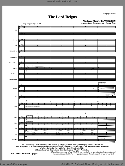 The Lord Reigns (COMPLETE) sheet music for orchestra by Klaus Kuehn and Harold Ross, intermediate orchestra. Score Image Preview.