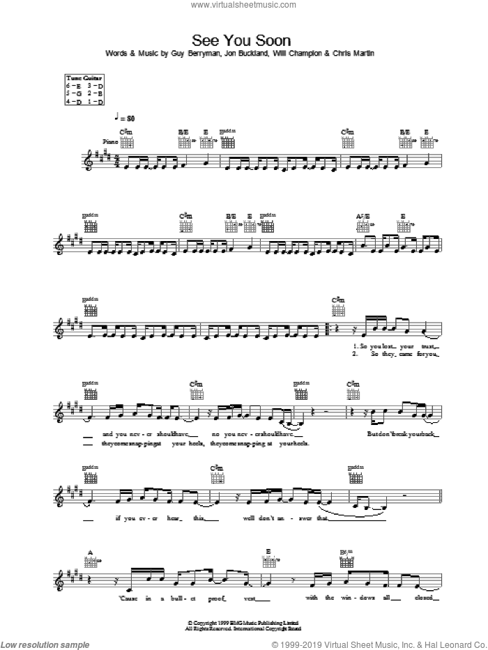 See You Soon sheet music for voice and other instruments (fake book) by Coldplay, intermediate voice. Score Image Preview.