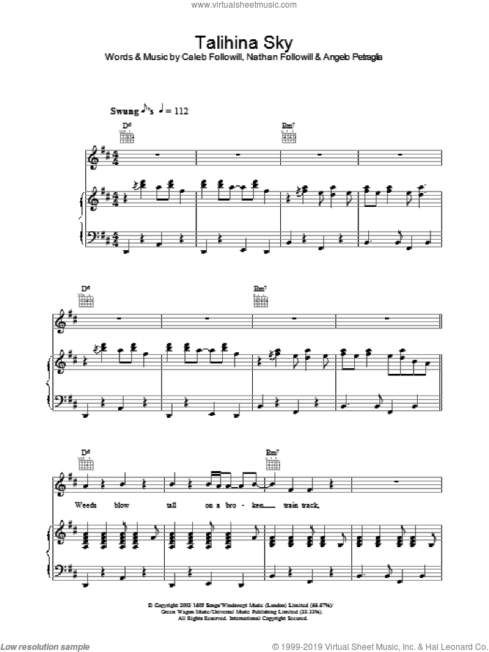 Talihina Sky sheet music for voice, piano or guitar by Kings Of Leon, Angelo Petraglio, Caleb Followill and Nathan Followill, intermediate. Score Image Preview.