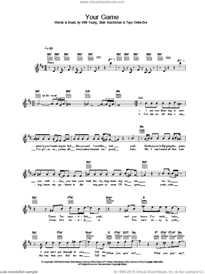 Your Game sheet music for voice and other instruments (fake book) by Will Young. Score Image Preview.