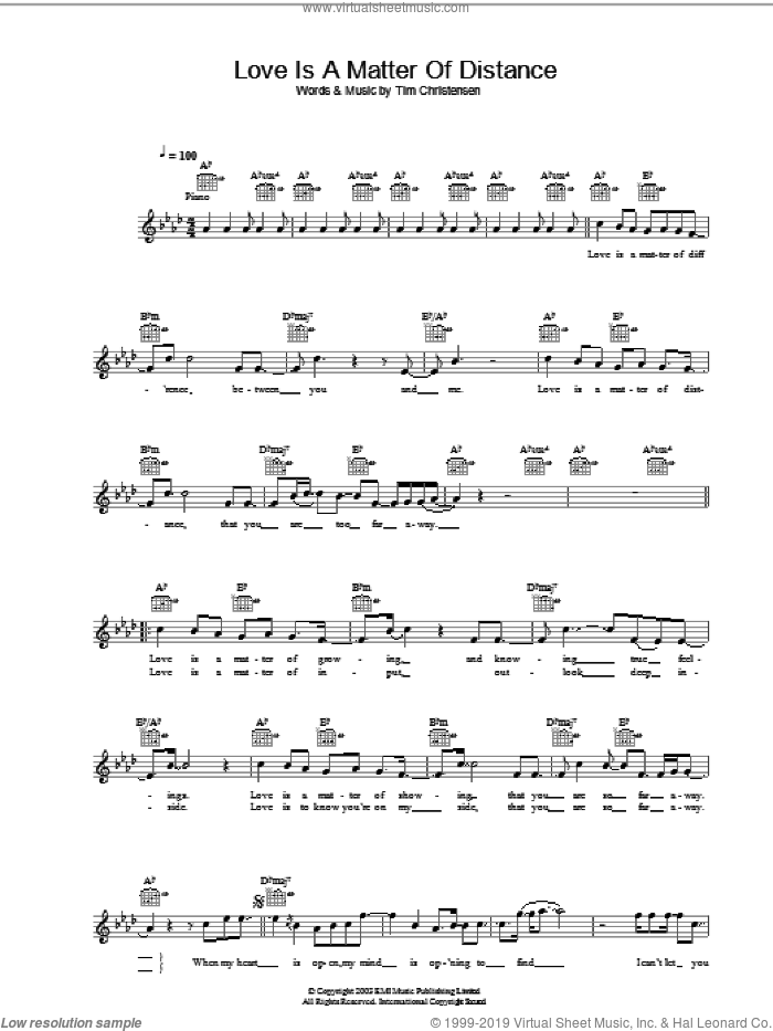 Love Is A Matter Of Distance sheet music for voice and other instruments (fake book) by Tim Christensen and Will Young. Score Image Preview.