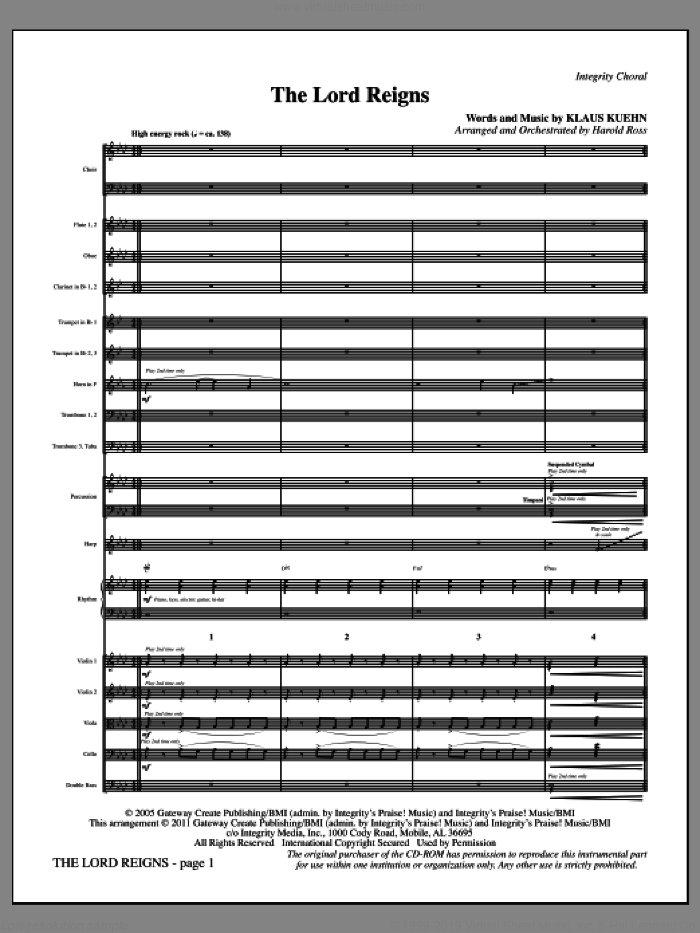 The Lord Reigns (complete set of parts) sheet music for orchestra/band (Orchestra) by Harold Ross and Klaus Kuehn, intermediate skill level