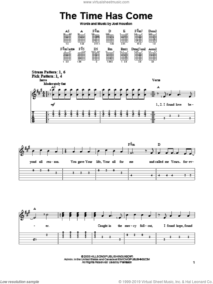 The Time Has Come sheet music for guitar solo (easy tablature) by Joel Houston and Hillsong United. Score Image Preview.