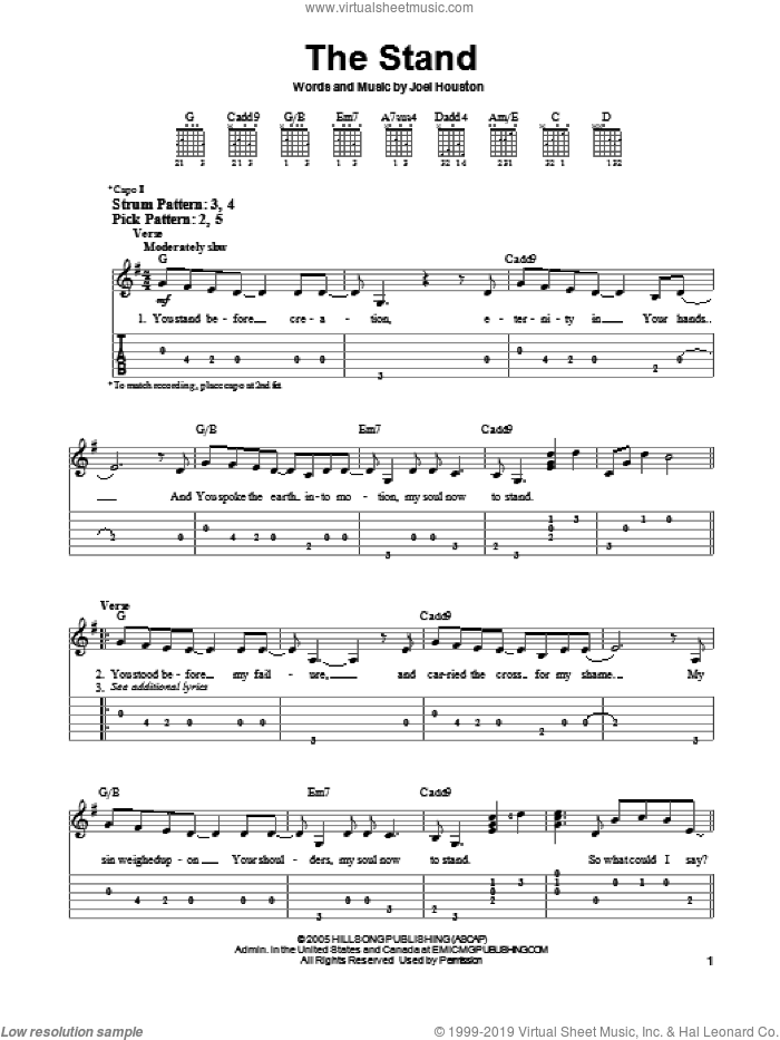The Stand sheet music for guitar solo (easy tablature) by Hillsong United and Joel Houston, easy guitar (easy tablature)
