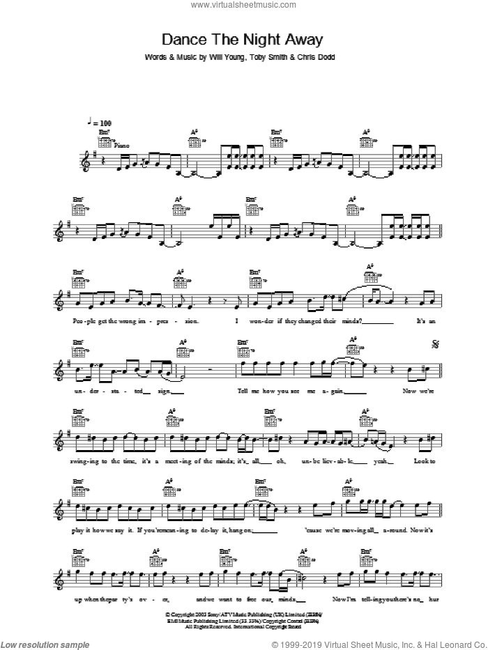 Dance The Night Away sheet music for voice and other instruments (fake book) by Will Young, Chris Dodd and Toby Smith, intermediate skill level
