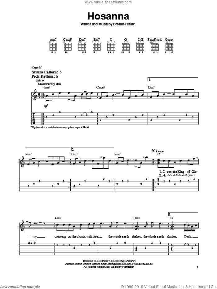 Hosanna sheet music for guitar solo (easy tablature) by Hillsong United and Brooke Fraser, easy guitar (easy tablature)