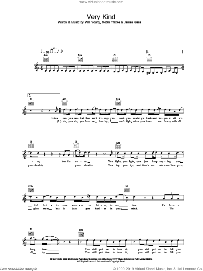 Very Kind sheet music for voice and other instruments (fake book) by Will Young, James Gass and Robin Thicke, intermediate skill level