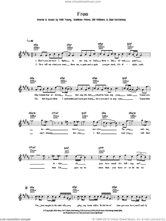 Free sheet music for voice and other instruments (fake book) by Will Young, Bill Withers and Matthew Prime, intermediate. Score Image Preview.