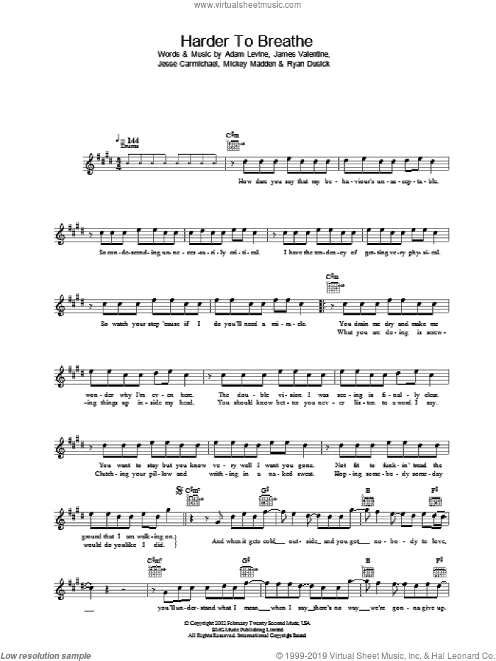 Harder To Breathe sheet music for voice and other instruments (fake book) by Jesse Carmichael