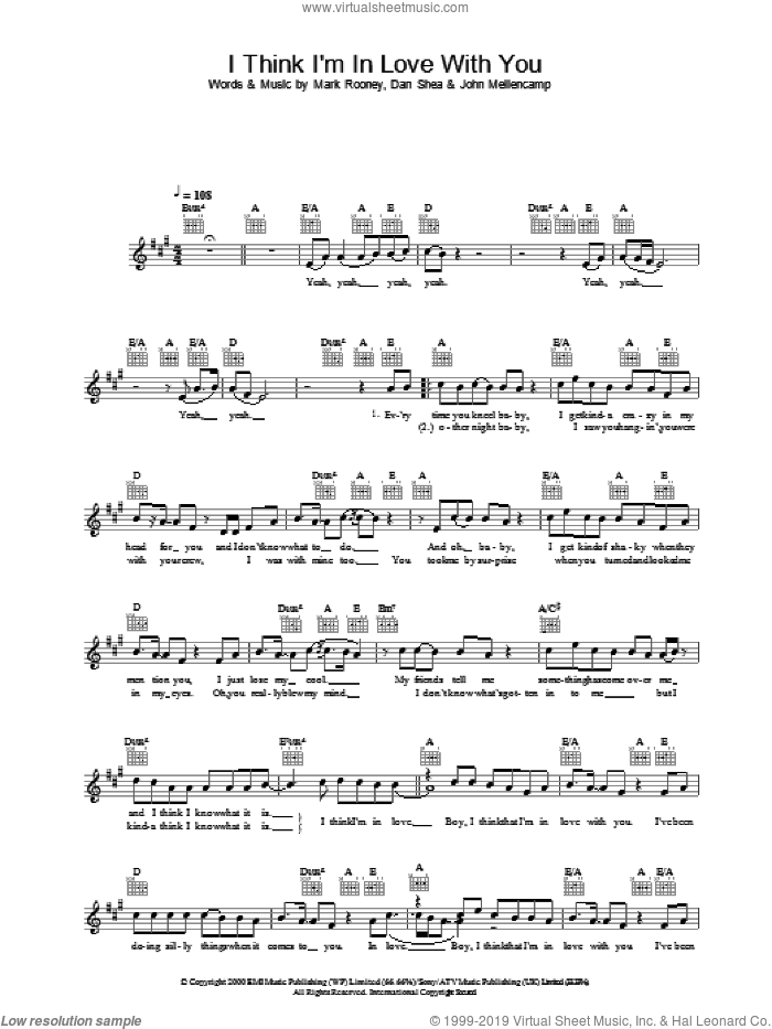 I Think I'm In Love With You sheet music for voice and other instruments (fake book) by Mark Rooney, Jessica Simpson, Dan Shea and John Mellencamp. Score Image Preview.