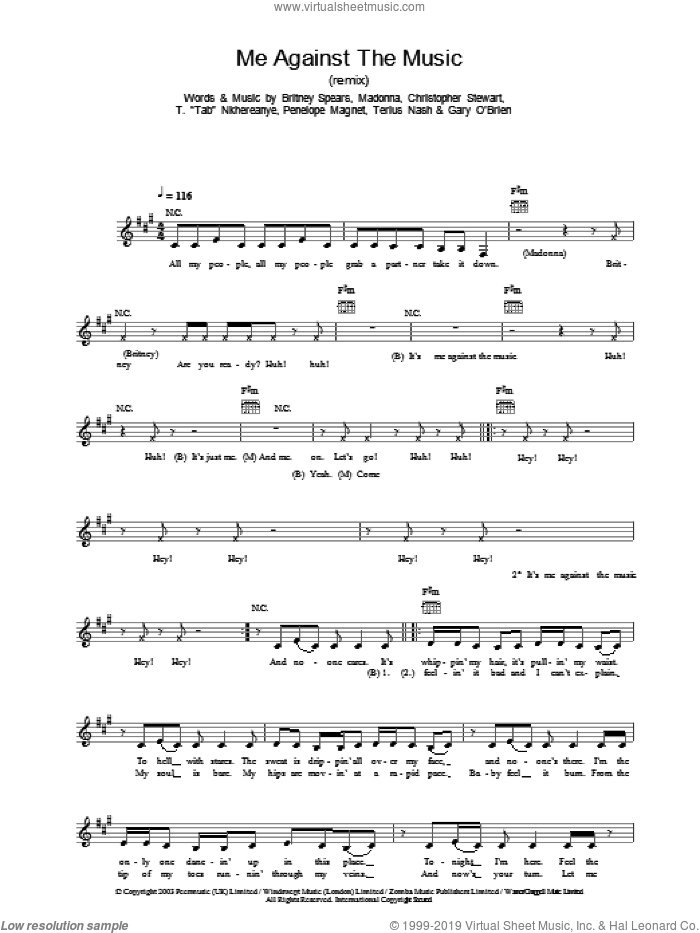 Me Against The Music sheet music for voice and other instruments (fake book) by Britney Spears, Madonna, Christopher Stewart, Dorian Hardnett and Terius Nash, intermediate skill level
