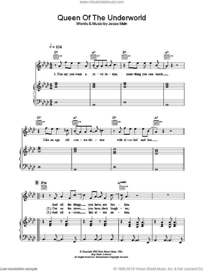 Queen Of The Underworld sheet music for voice, piano or guitar by Jesse Malin. Score Image Preview.