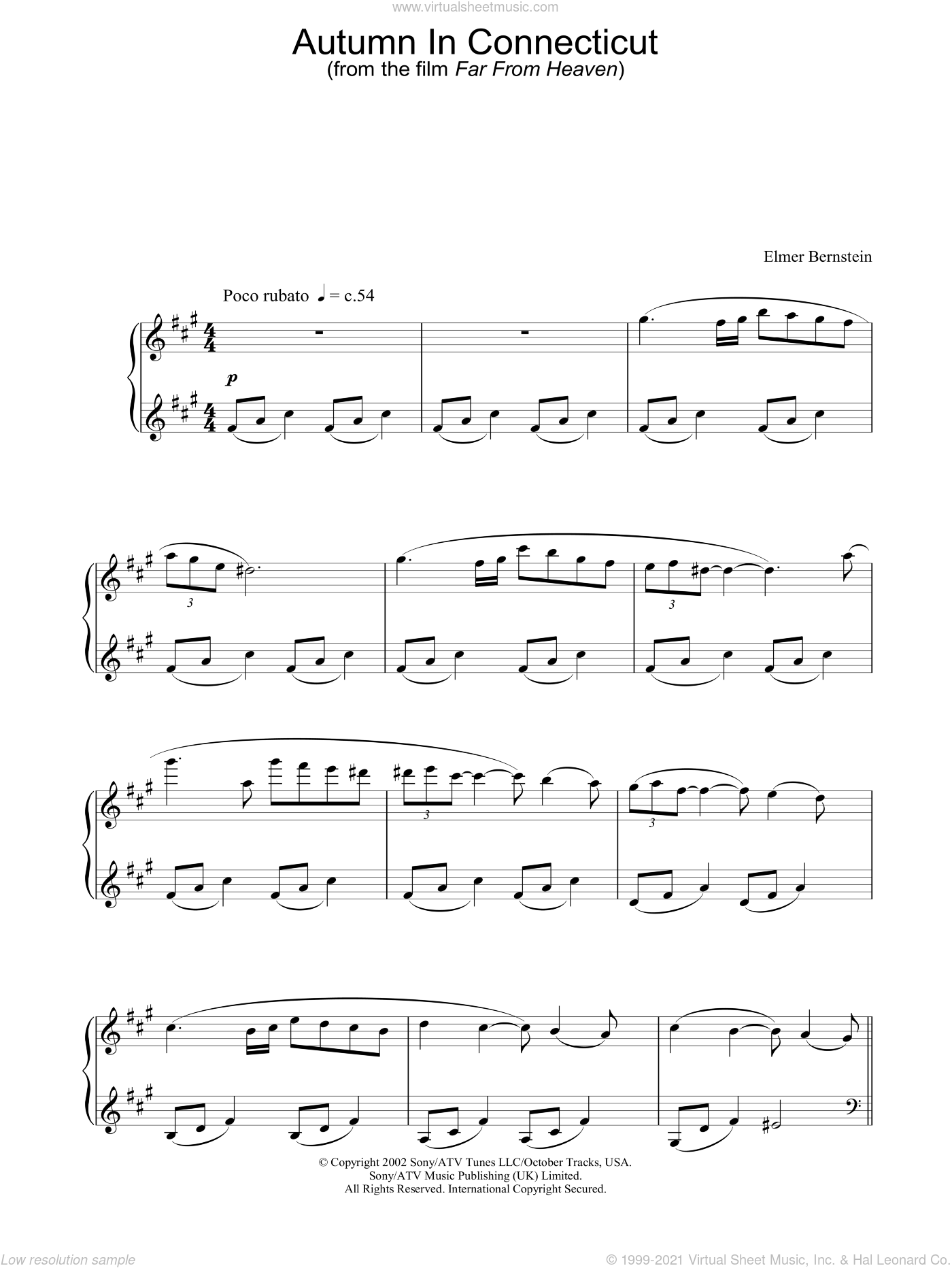 Autumn In Connecticut sheet music for piano solo by Far From Heaven and Elmer Bernstein, intermediate skill level