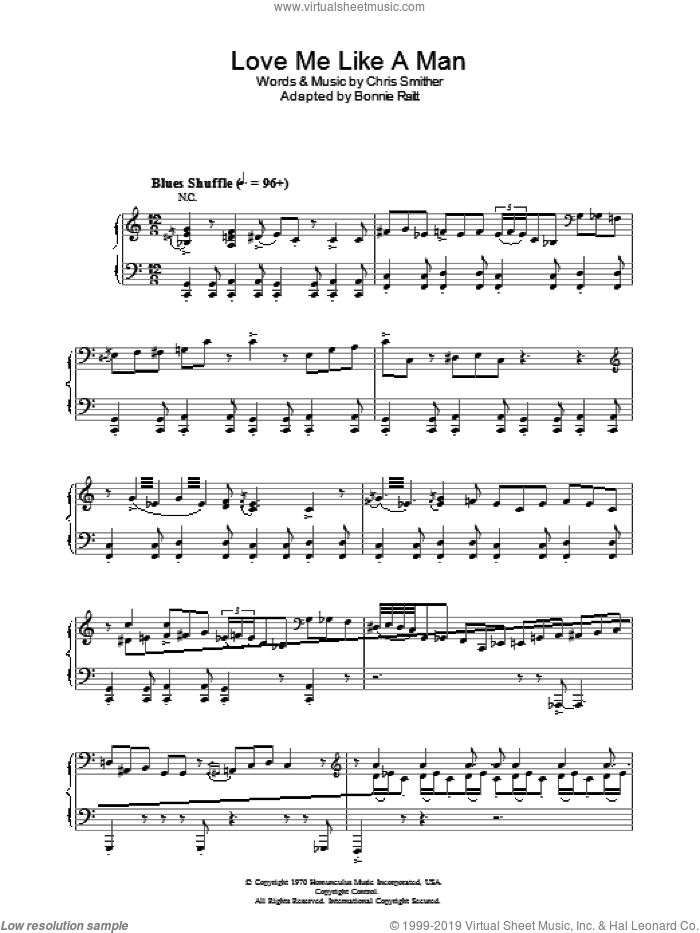 Love Me Like A Man sheet music for voice, piano or guitar by Chris Smither and Diana Krall. Score Image Preview.