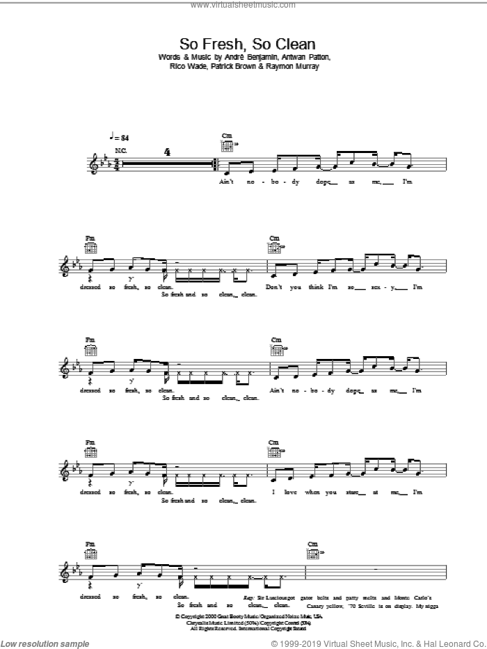 So Fresh, So Clean sheet music for voice and other instruments (fake book) by OutKast. Score Image Preview.