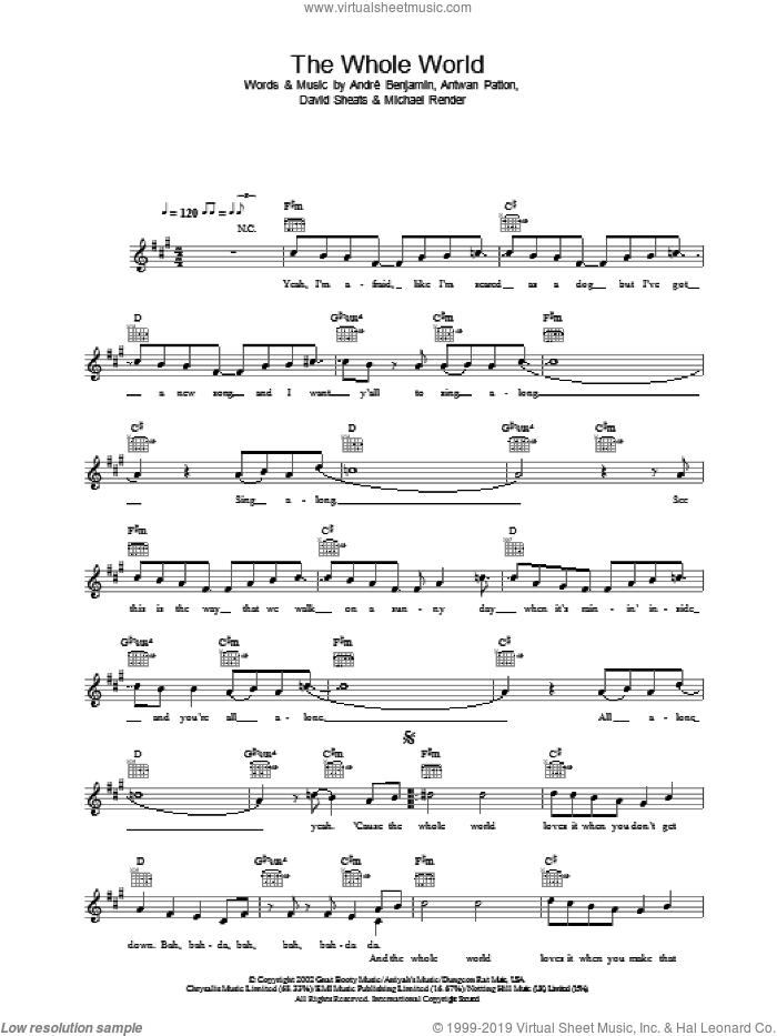 The Whole World sheet music for voice and other instruments (fake book) by OutKast, Andre Benjamin, Antwan Patton and David Sheats, intermediate skill level