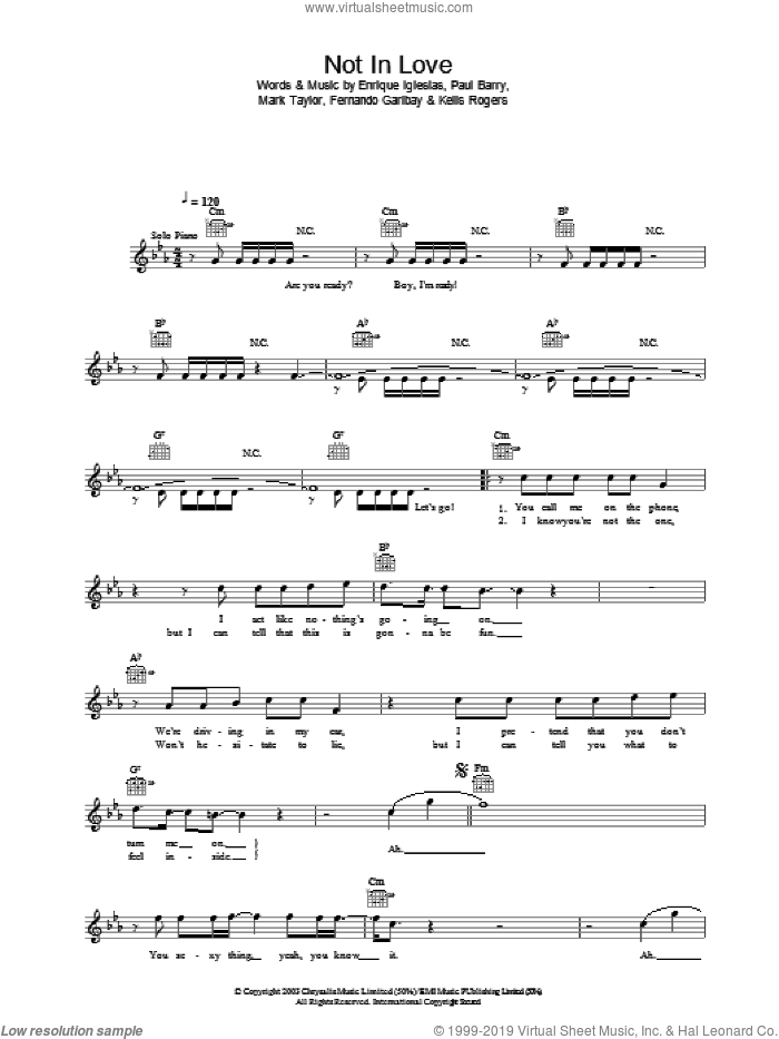Not In Love sheet music for voice and other instruments (fake book) by Enrique Iglesias, Mark Taylor and Paul Barry, intermediate skill level