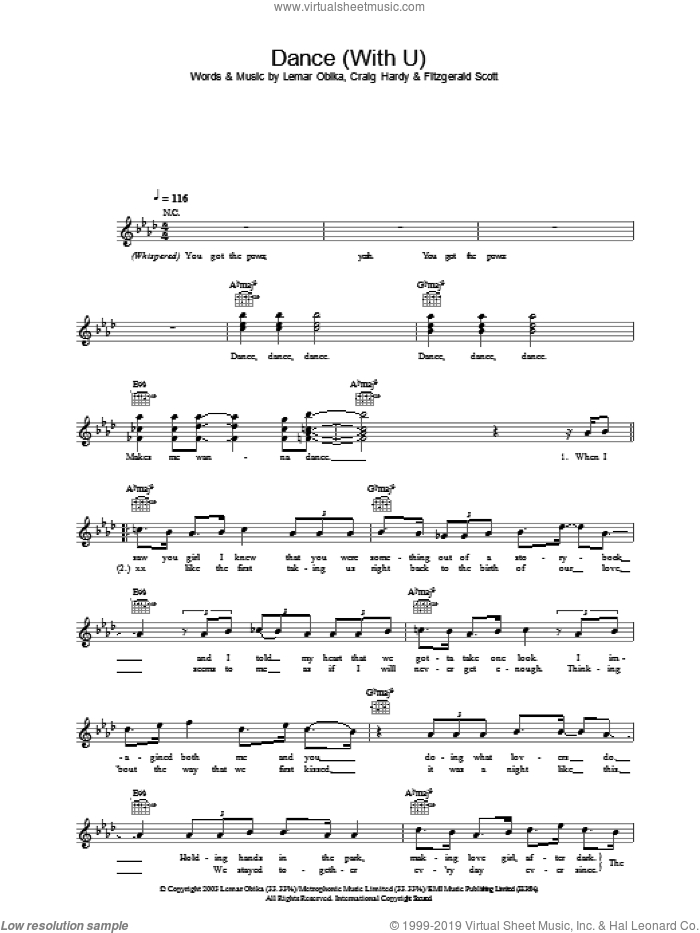 Dance (With U) sheet music for voice and other instruments (fake book) by Lemar and Fitzgerald Scott, intermediate voice. Score Image Preview.