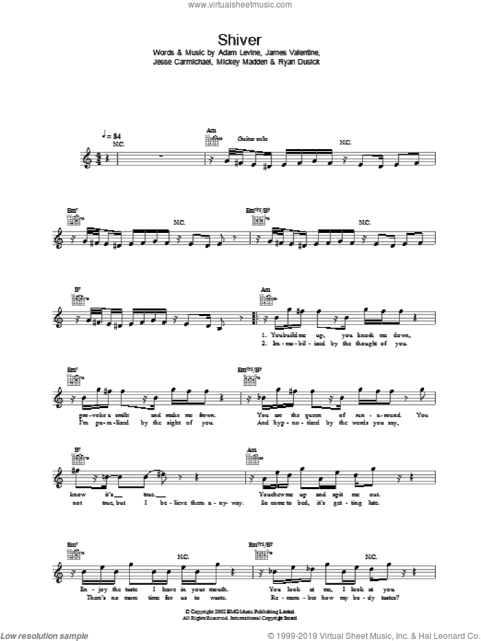 Shiver sheet music for voice and other instruments (fake book) by Maroon 5, Adam Levine and Jesse Carmichael, intermediate skill level