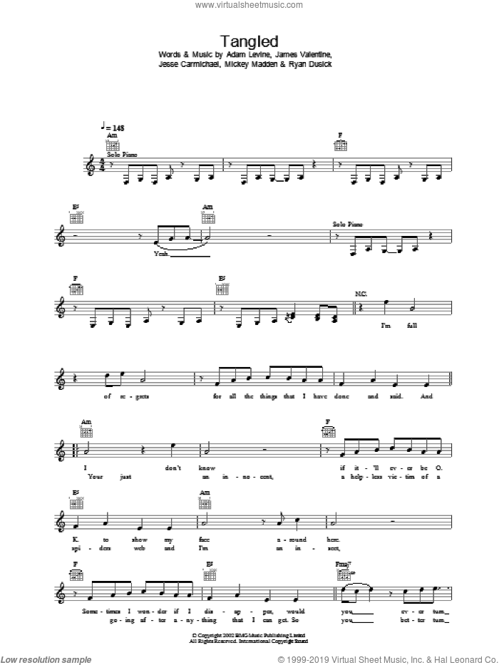 Tangled sheet music for voice and other instruments (fake book) by Maroon 5 and Adam Levine, intermediate voice. Score Image Preview.