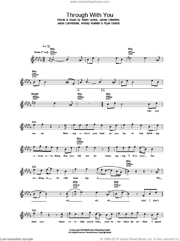 Through With You sheet music for voice and other instruments (fake book) by Jesse Carmichael, Maroon 5 and Adam Levine. Score Image Preview.