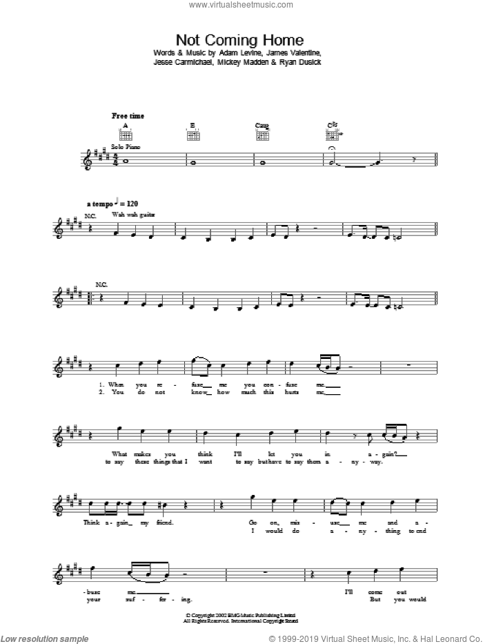Not Coming Home sheet music for voice and other instruments (fake book) by Ryan Dusick, Maroon 5, Adam Levine and Jesse Carmichael