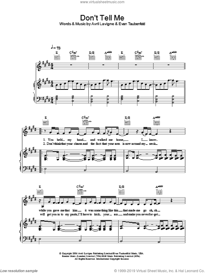 Don't Tell Me sheet music for voice, piano or guitar by Avril Lavigne and Evan Taubenfeld, intermediate skill level