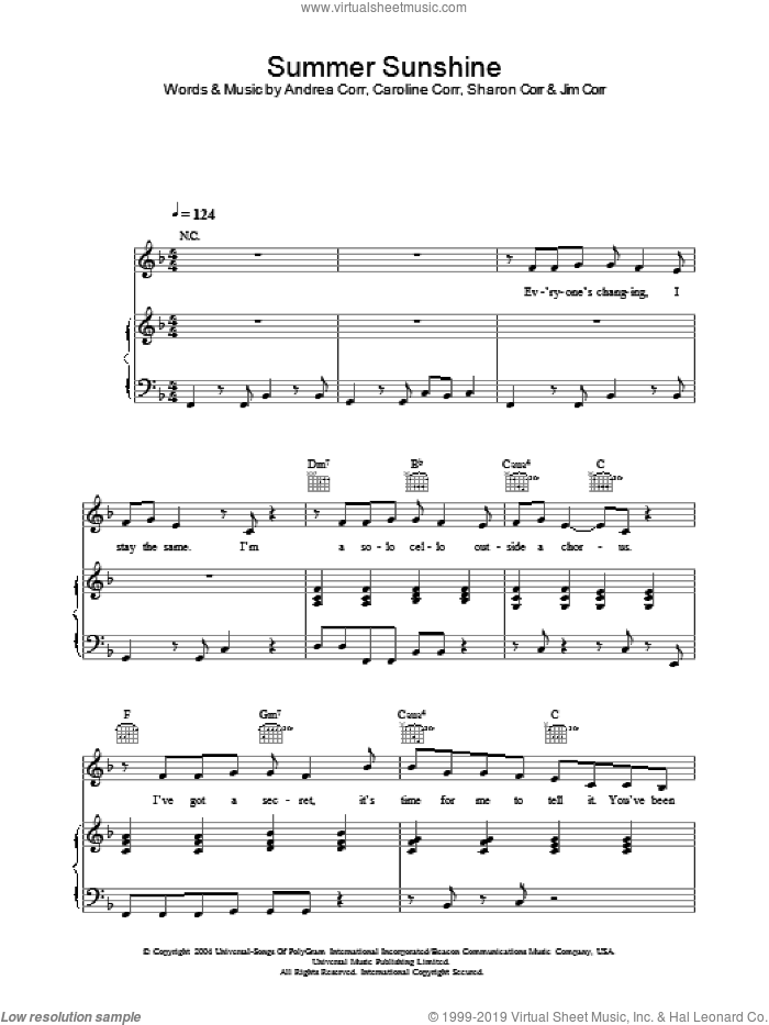 Summer Sunshine sheet music for voice, piano or guitar by The Corrs, Andrea Corr, Caroline Corr and Sharon Corr, intermediate skill level