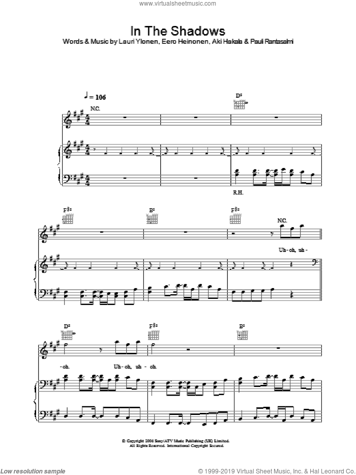In The Shadows sheet music for voice, piano or guitar by The Rasmus. Score Image Preview.