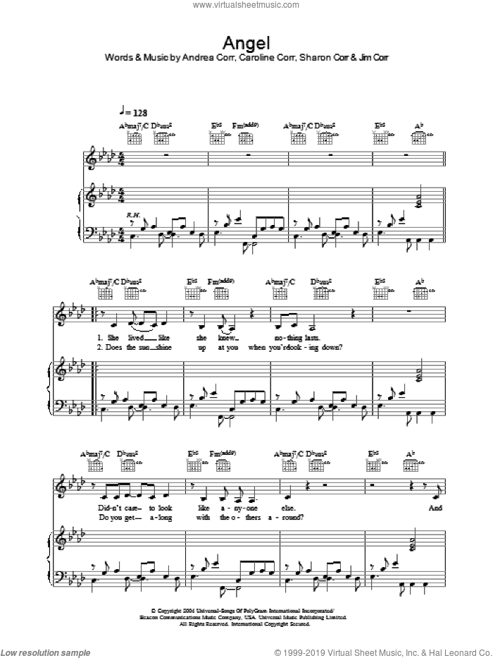 Angel sheet music for voice, piano or guitar by The Corrs and Andrea Corr, intermediate voice, piano or guitar. Score Image Preview.