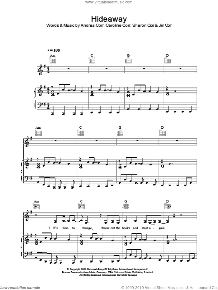 Hideaway sheet music for voice, piano or guitar by The Corrs, Andrea Corr, Caroline Corr and Sharon Corr, intermediate skill level