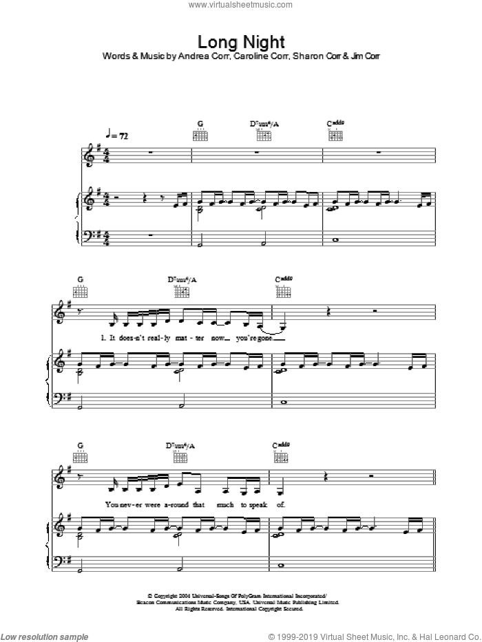 Long Night sheet music for voice, piano or guitar by The Corrs and Andrea Corr, intermediate. Score Image Preview.