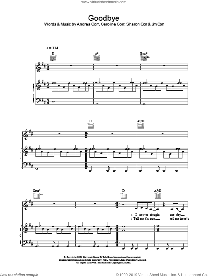 Goodbye sheet music for voice, piano or guitar by Sharon Corr, The Corrs and Andrea Corr. Score Image Preview.