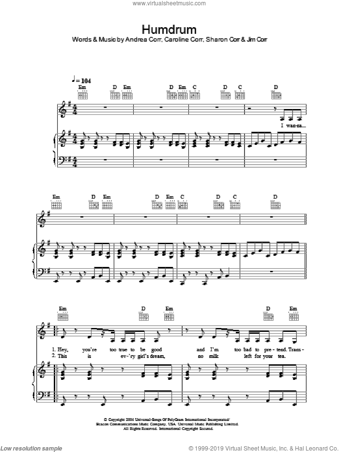 Humdrum sheet music for voice, piano or guitar by The Corrs and Andrea Corr, intermediate voice, piano or guitar. Score Image Preview.